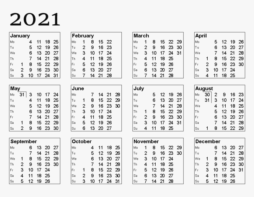 {Free} Printable 2021 Calendar Template Pdf, Word, Excel
