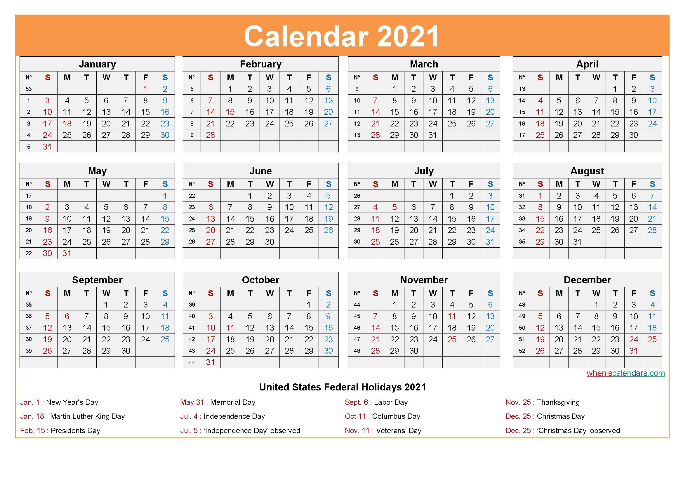 Free Printable 2021 Calendar With Holidays As Word, Pdf
