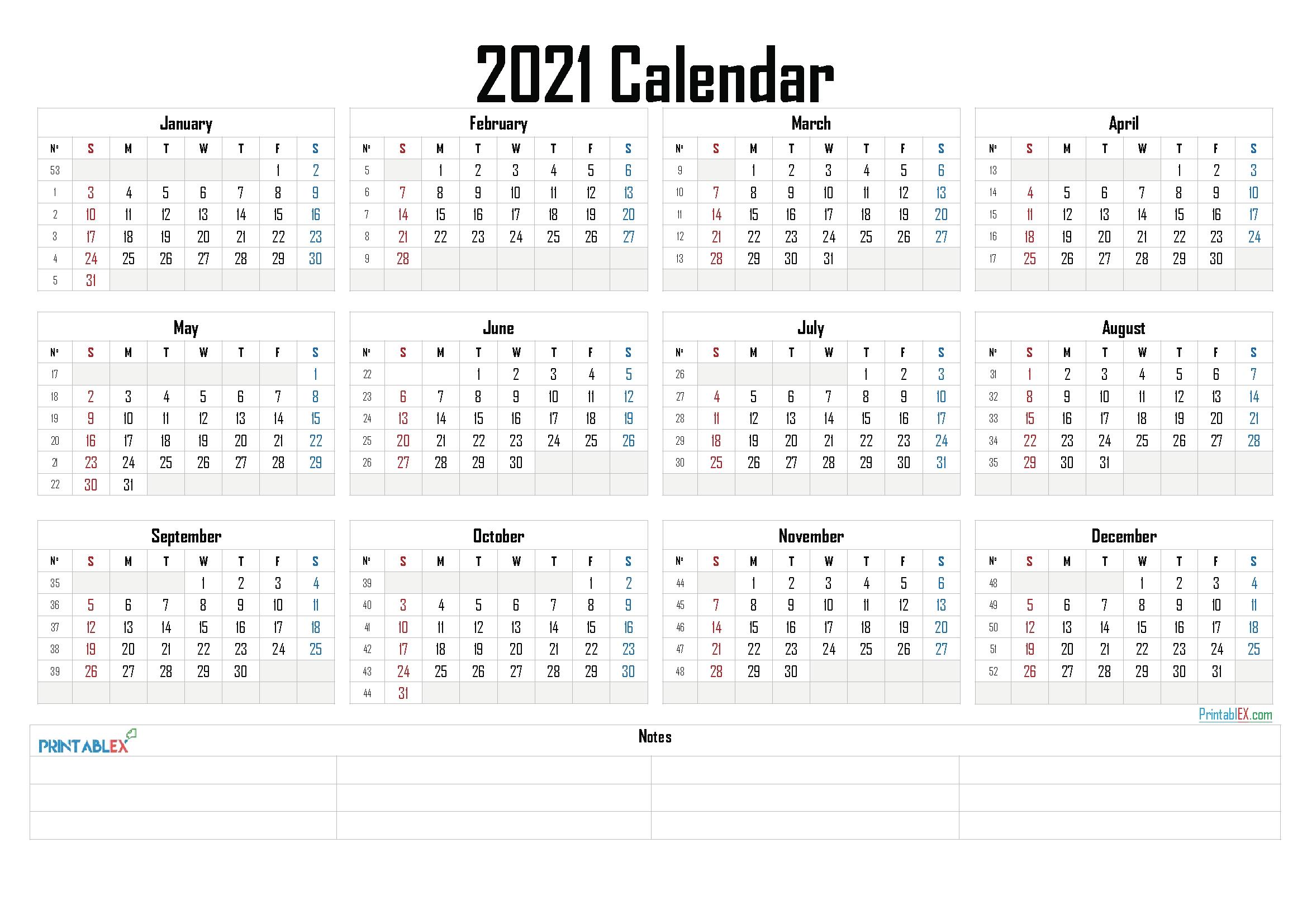 Free Printable 2021 Calendaryear - 21Ytw23 | Calendar