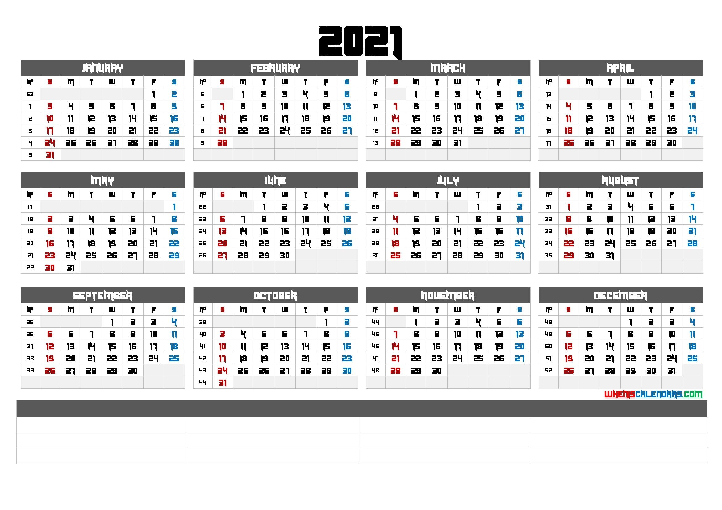 Free Printable 2021 Calendaryear (6 Templates)