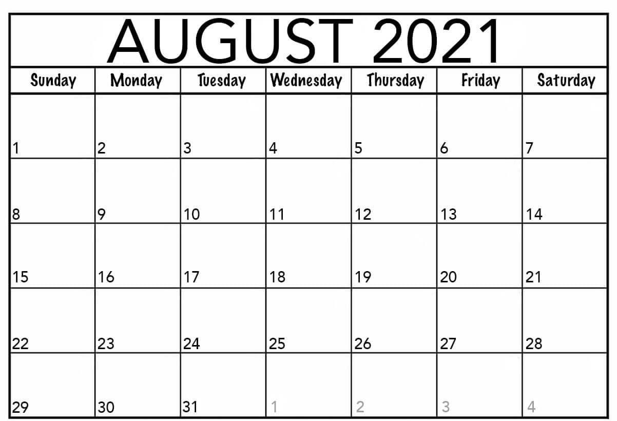 Free Printable 2021 Monthly Calendar Templates