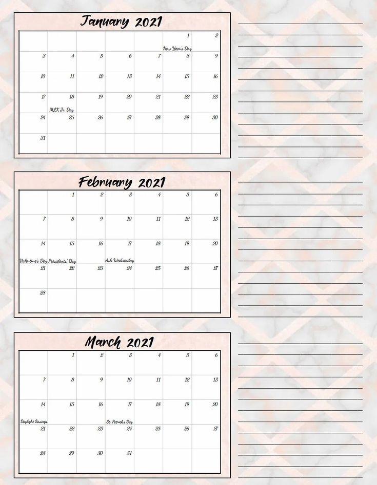 Free Printable 2021 Quarterly Calendars With Holidays: 3