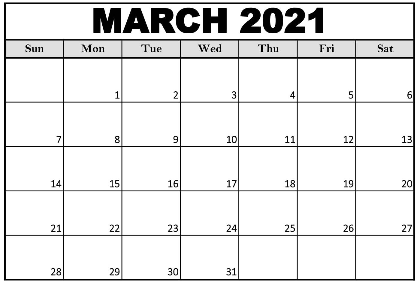 Free Printable Calendar 2021 March Monthly - Web Galaxy