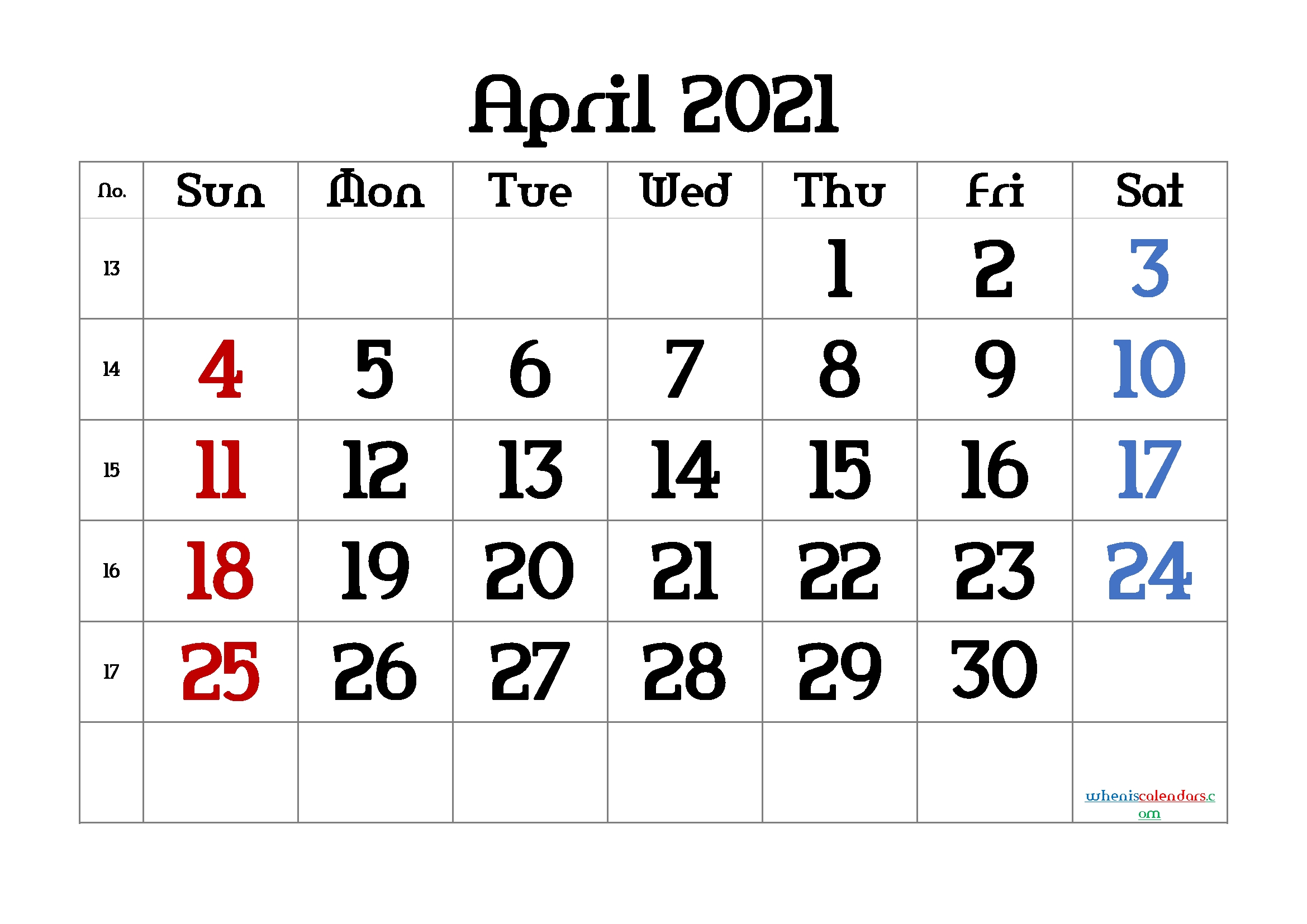 Printable Calendar Of April 2021 With Big Numbers