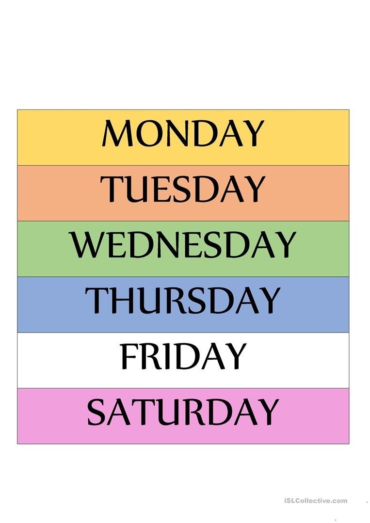 Free Printable Calendar Days Of The Week | Calendar