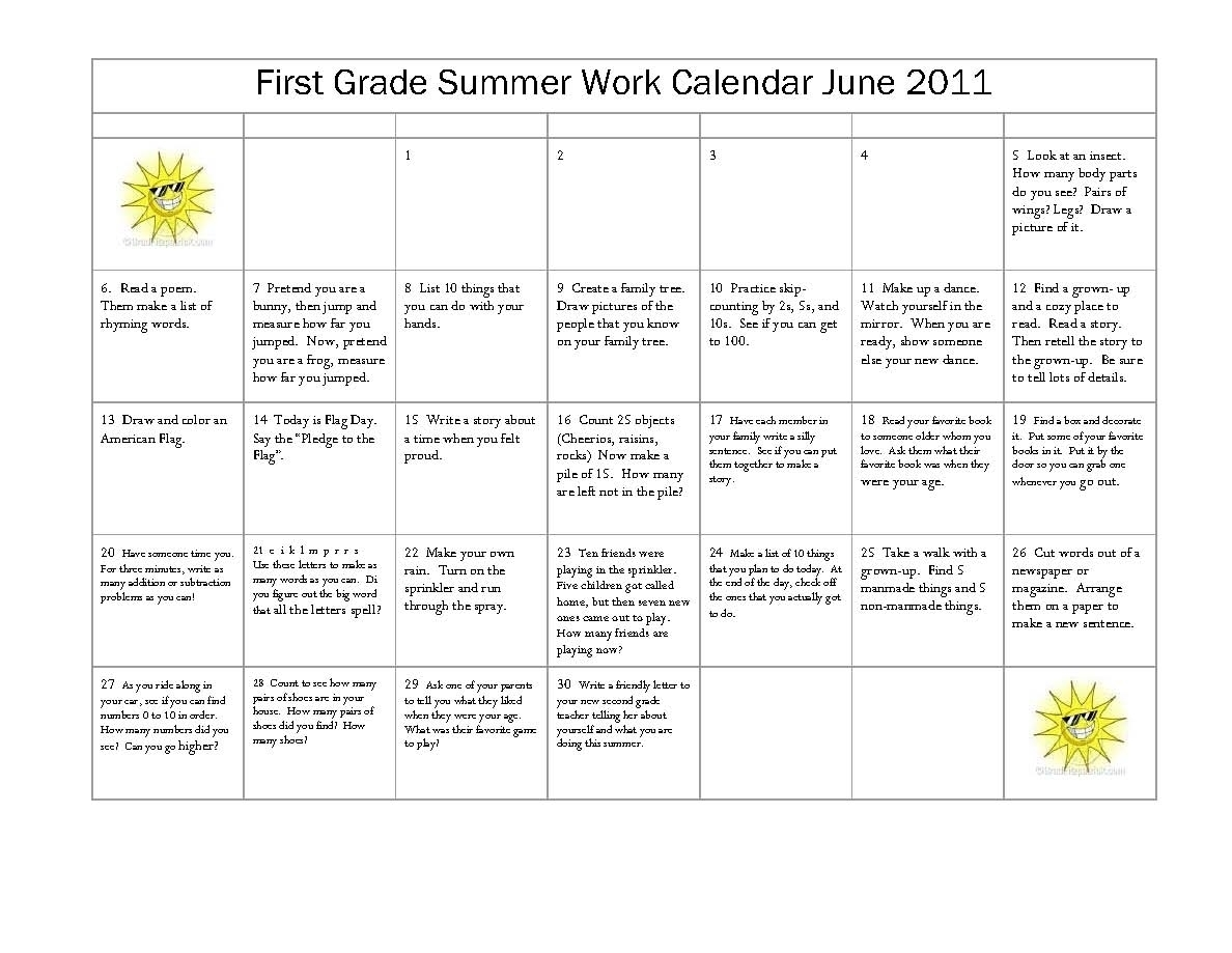 Free Printable Calendar For First Graders   Ten Free