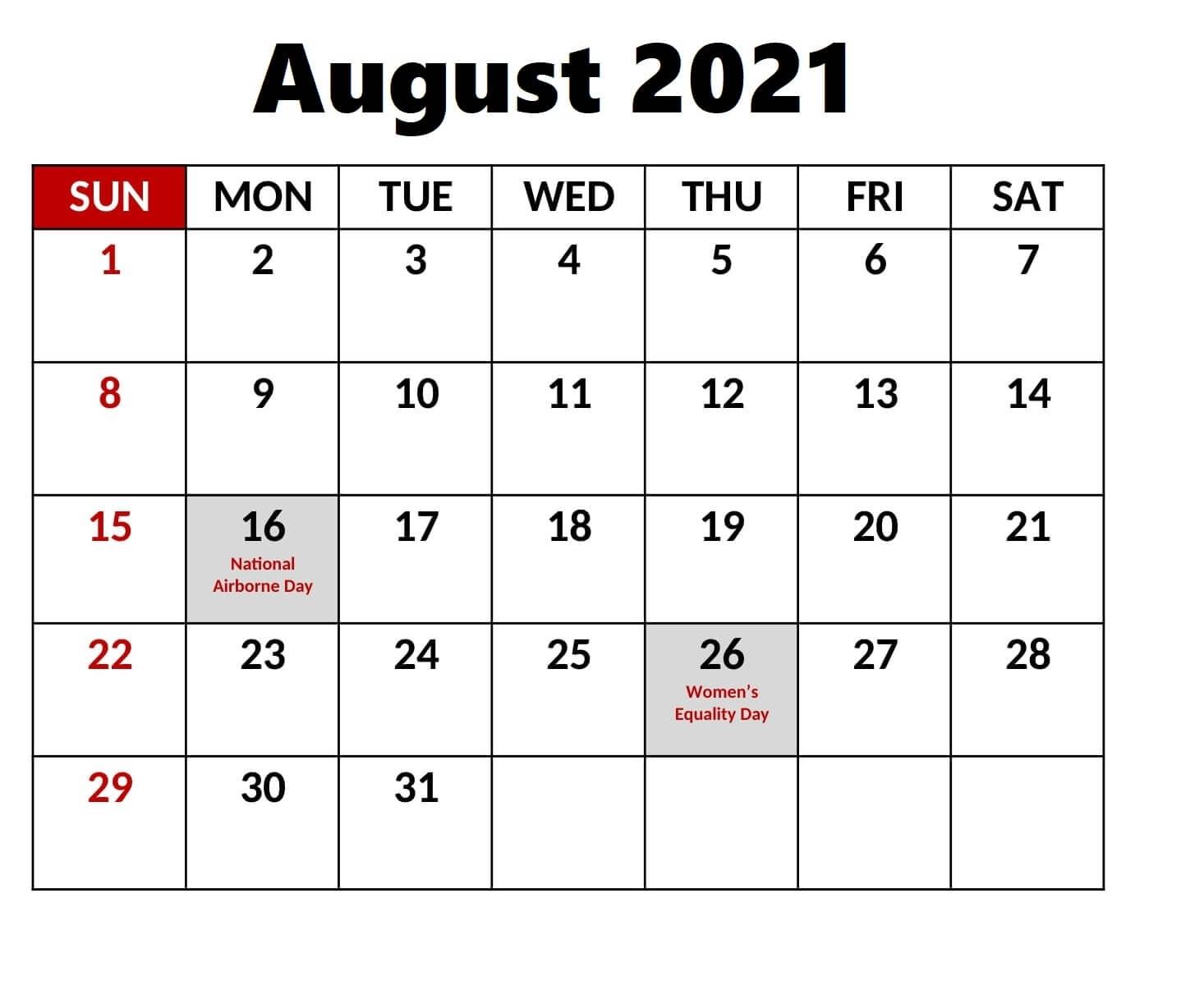 Free Printable Calendar With Holidays: Federal Holidays