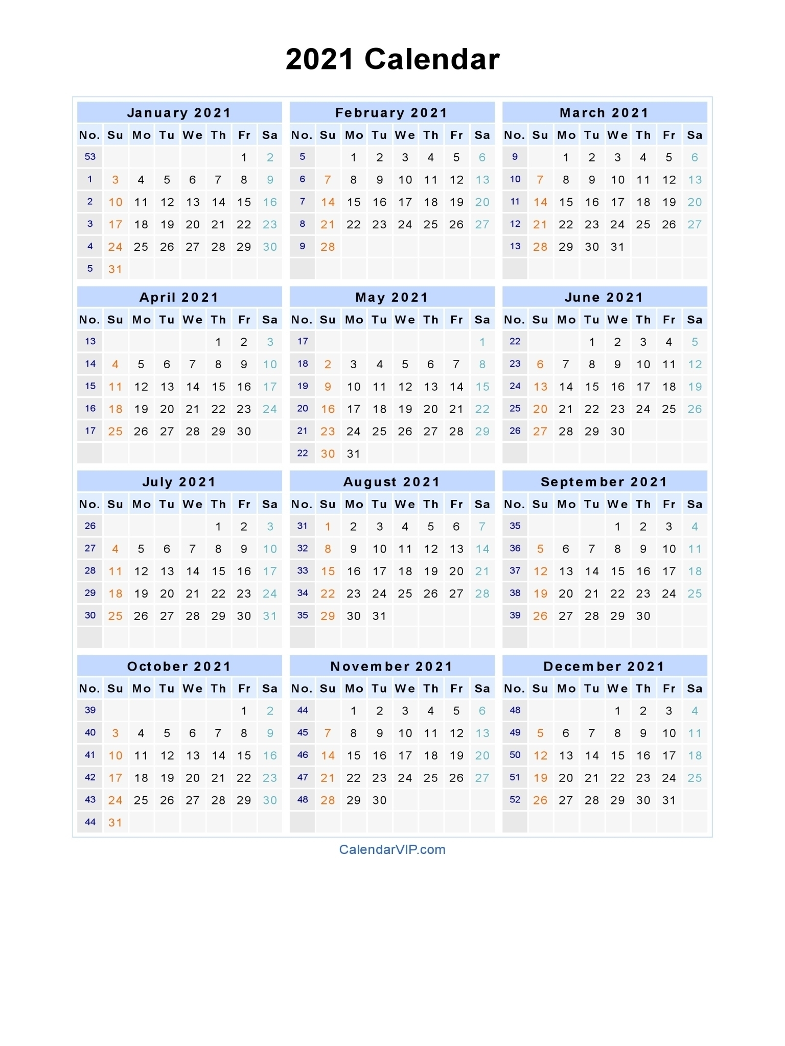 Free Printable Calendar Year 2021 | Ten Free Printable