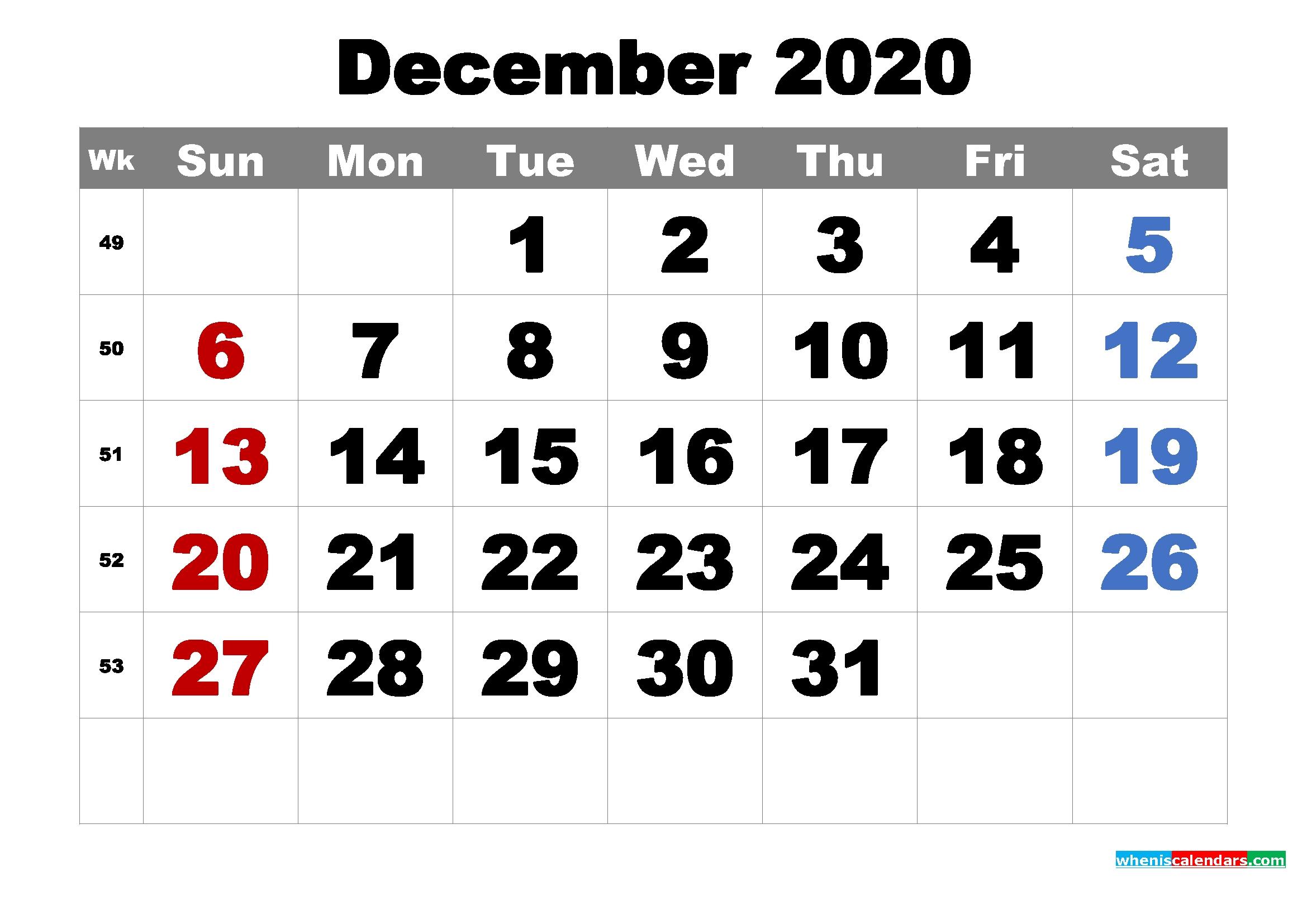 Free Printable December 2020 Calendar Word, Pdf, Image