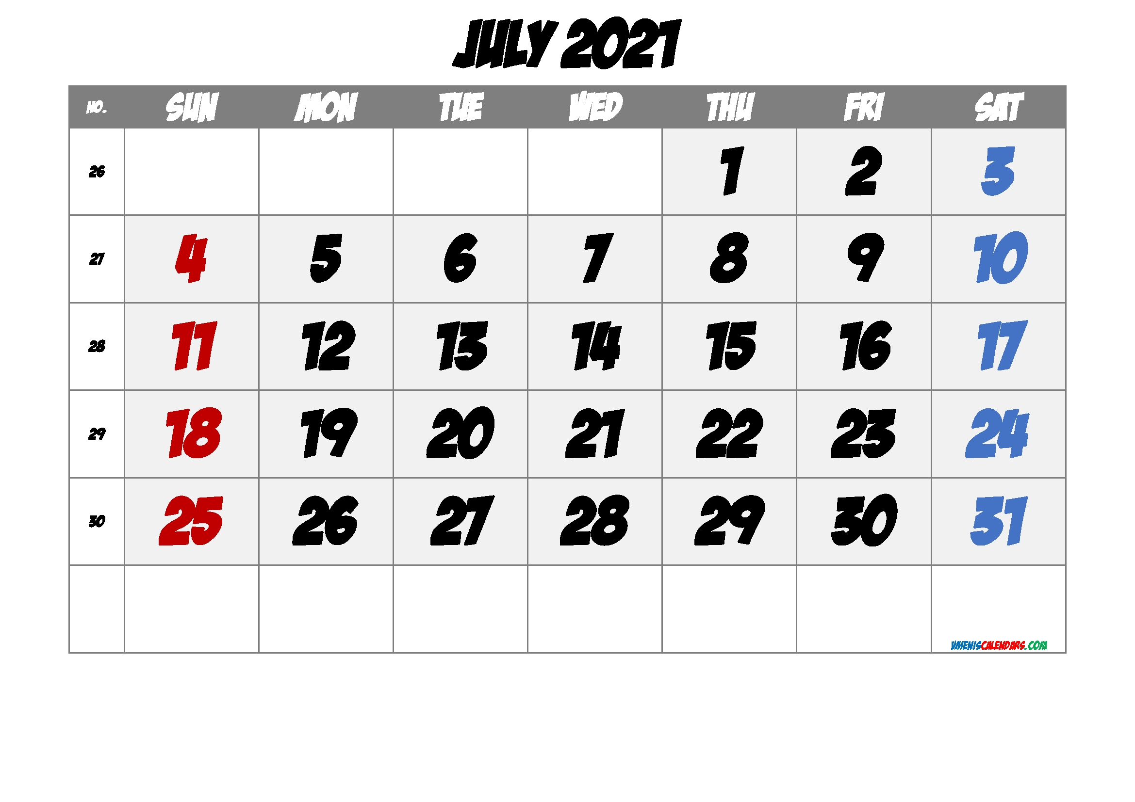 Free Printable July 2021 Calendar [Free Premium] - Free