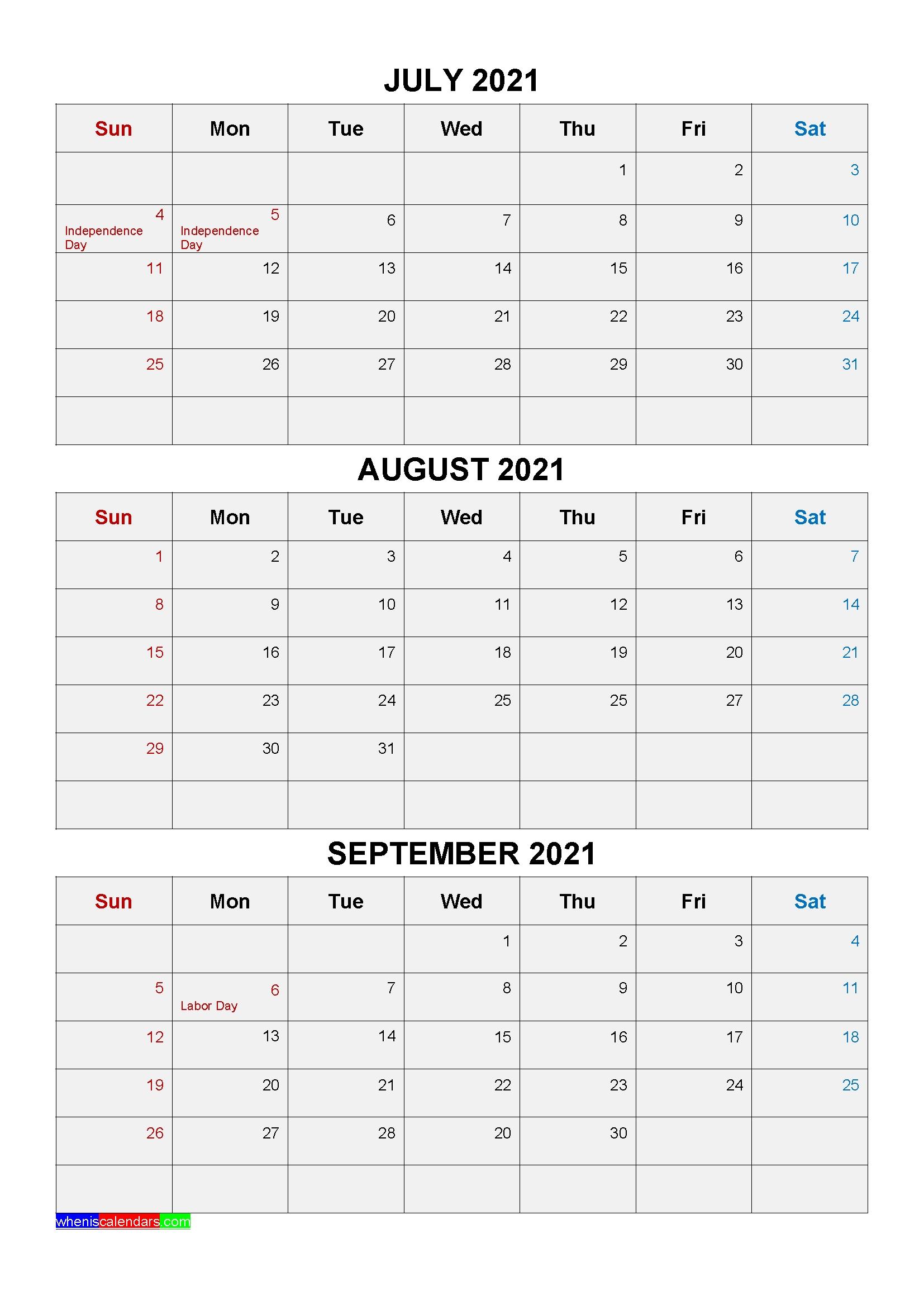 Free Printable July August September 2021 Calendar 3