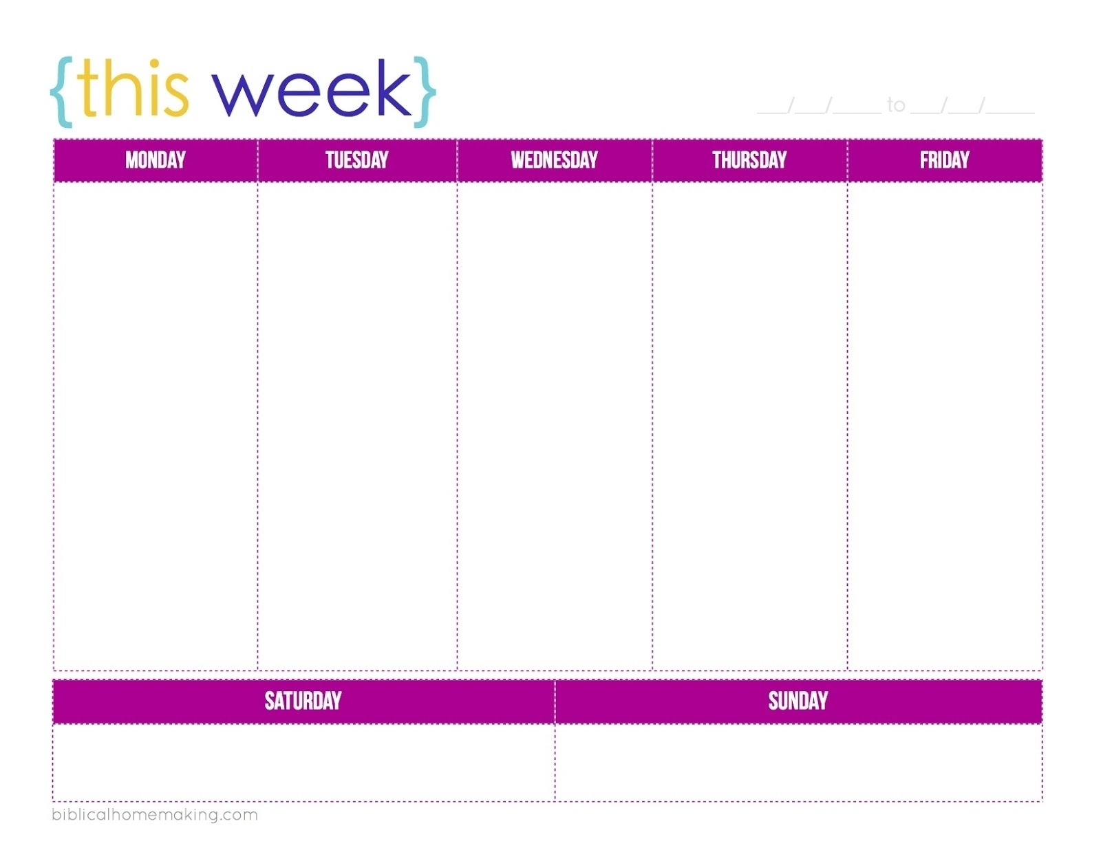 Free Printable M-F Calendar | Ten Free Printable Calendar