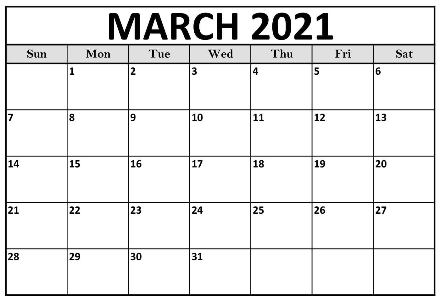 Free Printable March 2021 Calendar Page With Notes - Web