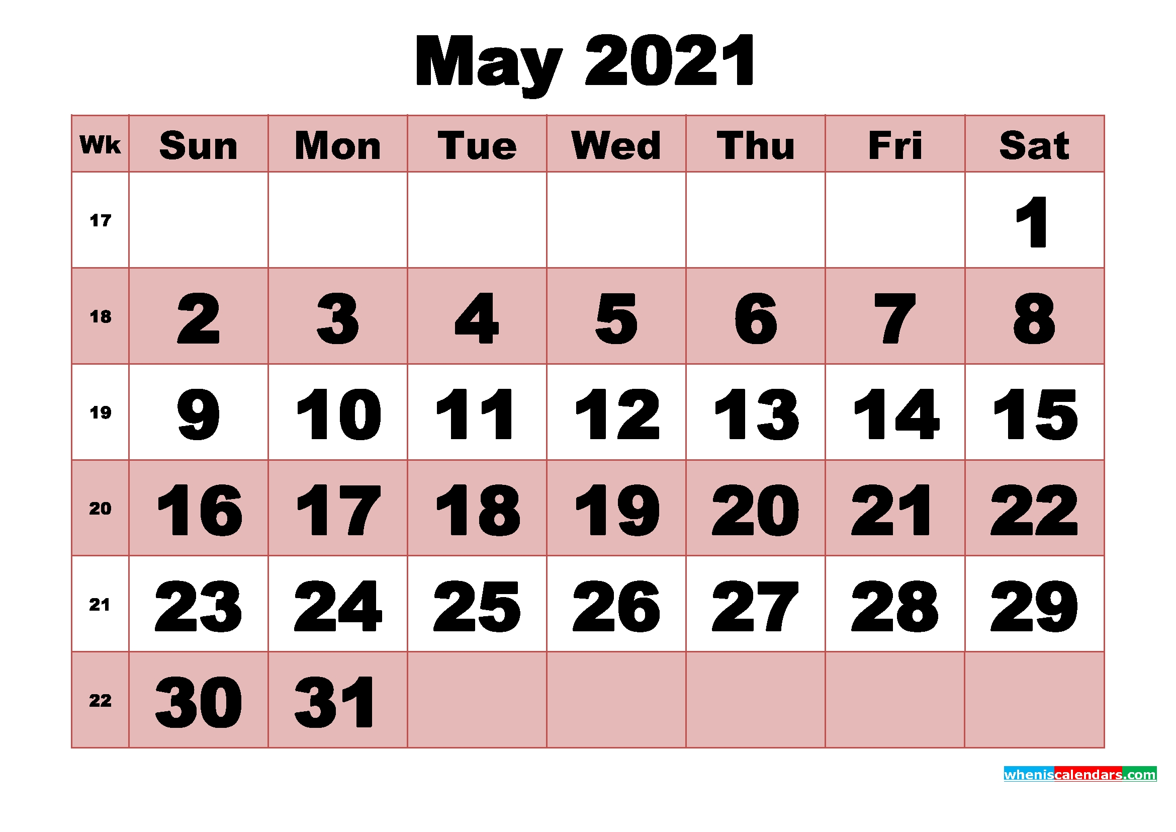 Free Printable Monthly Calendar May 2021