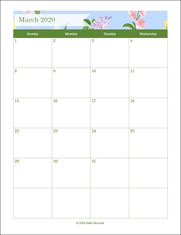 Free Printable Monthly Calendars {2019 And 2020} - A Quiet