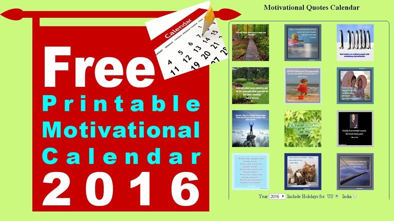 Free Printable Motivational Calendar - Youtube