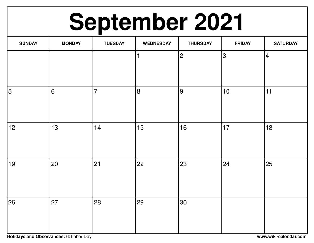 Free Printable September 2021 Calendars
