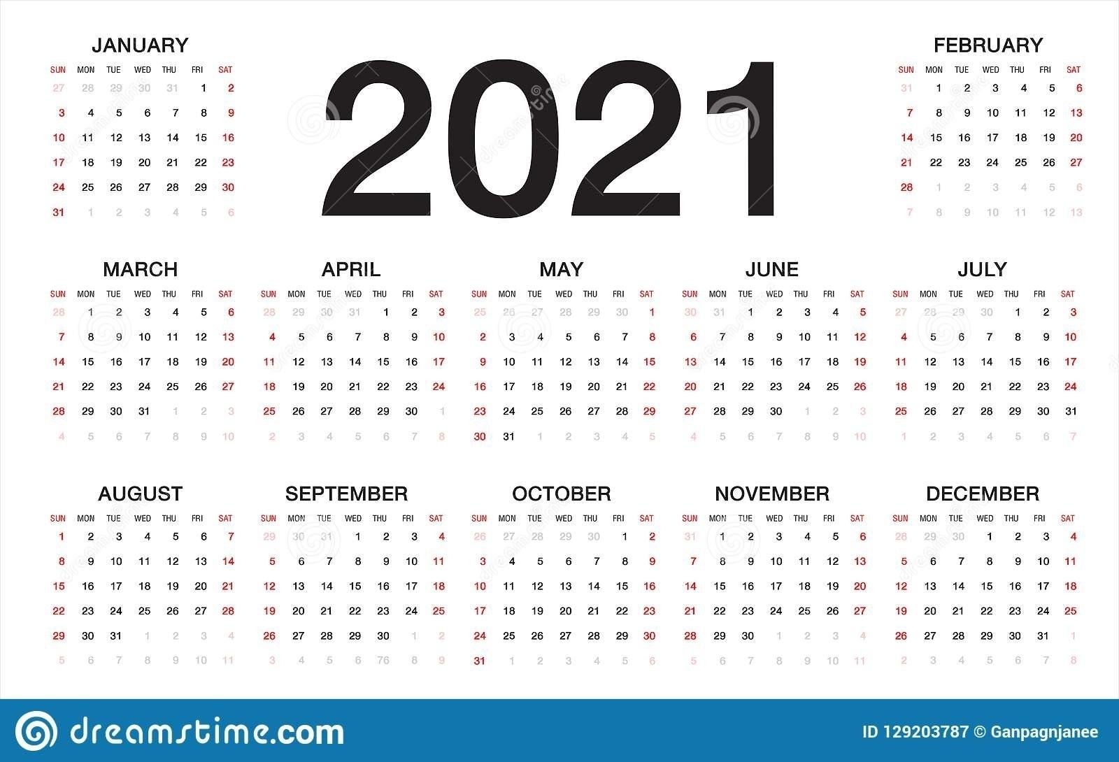 Free Printable Sunday Thru Saturday 2021 Calendar | Ten