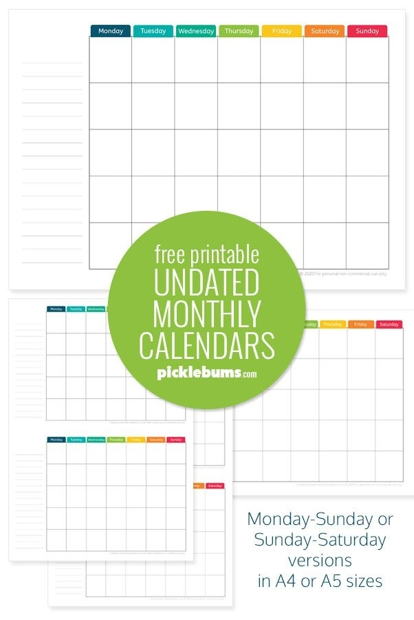 Free Printable Undated Monthly Calendar. | Monthly