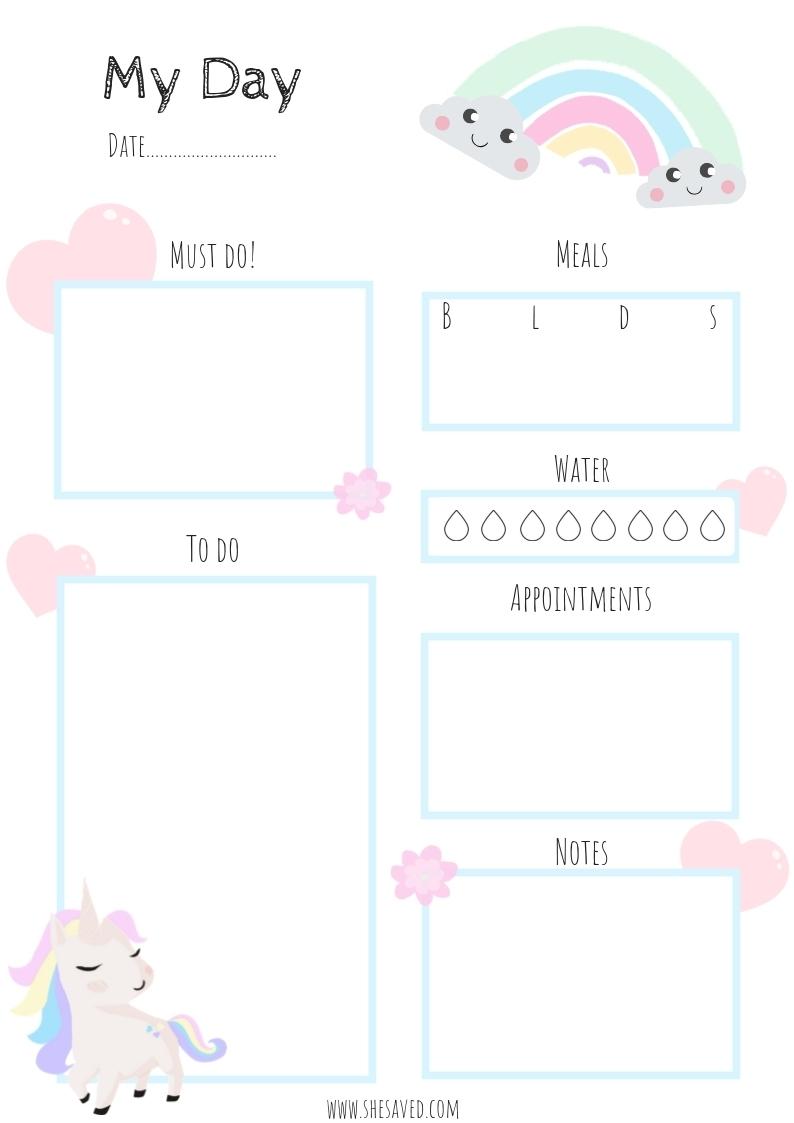 Free Printable Unicorn Calendar Pages - Shesaved®