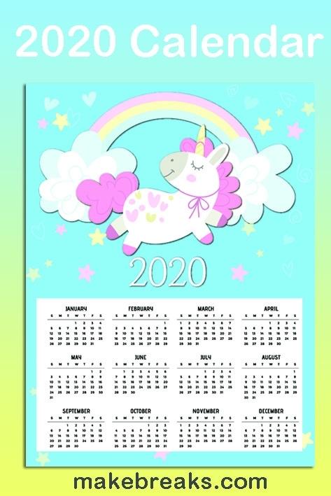 Free Printable Unicorn One Page 2020 Calendar 2 - Make Breaks