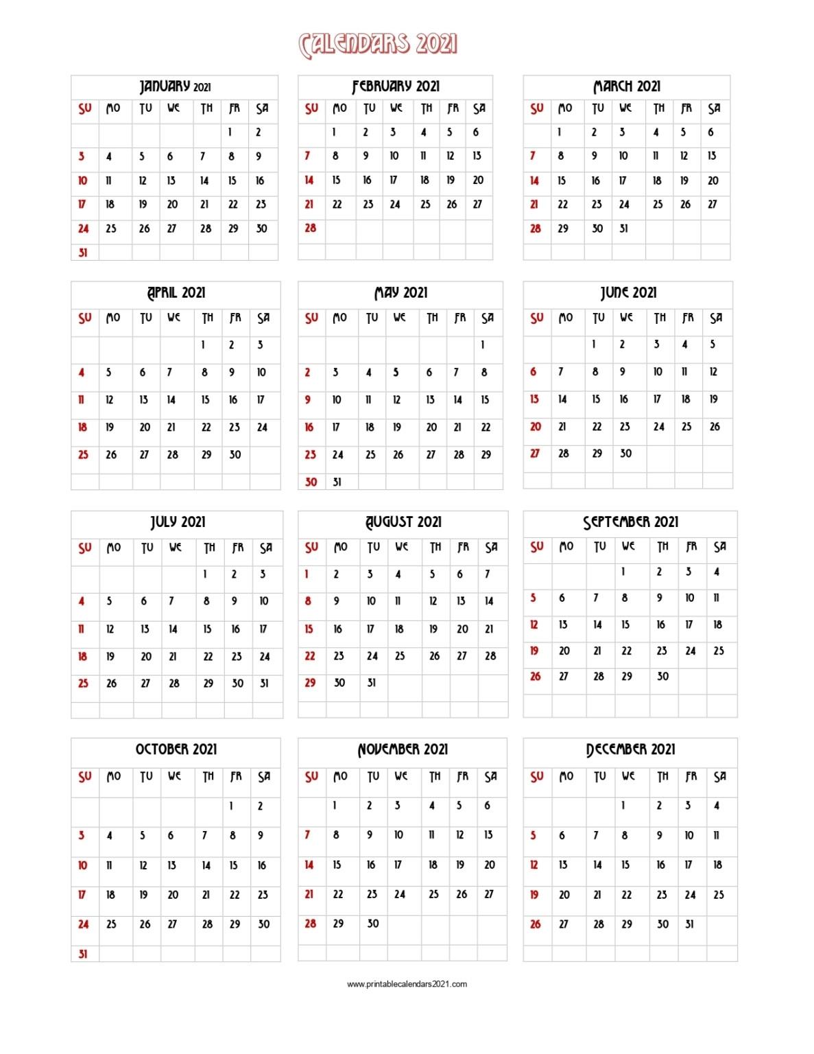 Free Printable Vertical 2021 Yearly Calendar   Printable