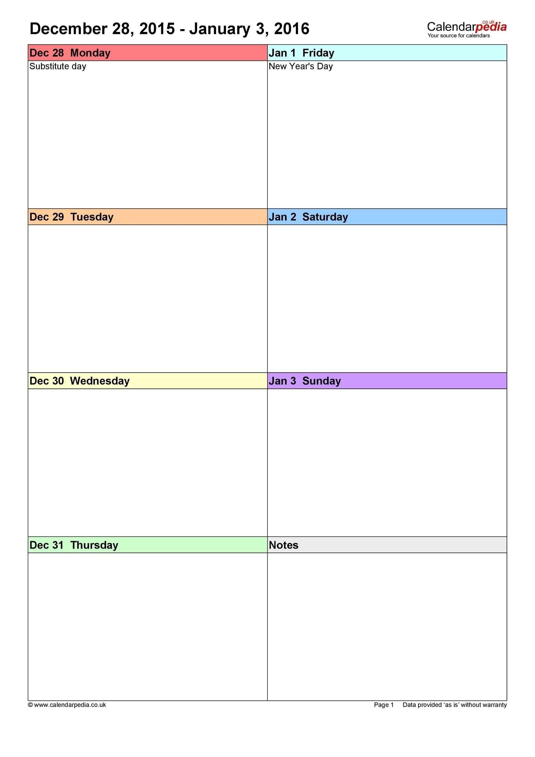 Free Printable Weekly Calendar Monday To Sunday   Month