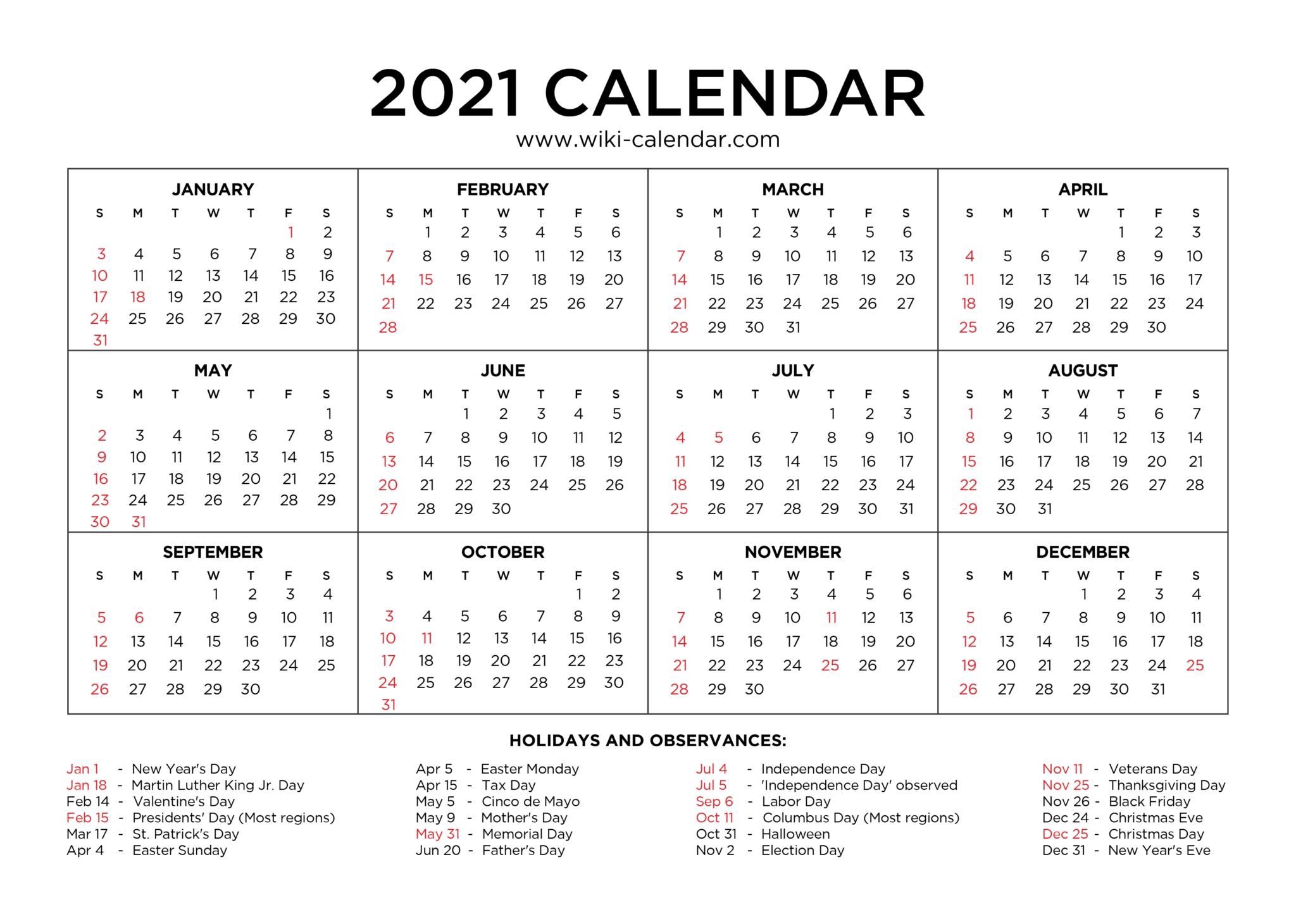Fill In Calendar 2021