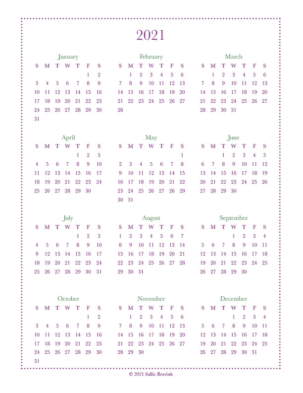 Free Year-At-A-Glance Calendars {2021 & 2022} - A Quiet
