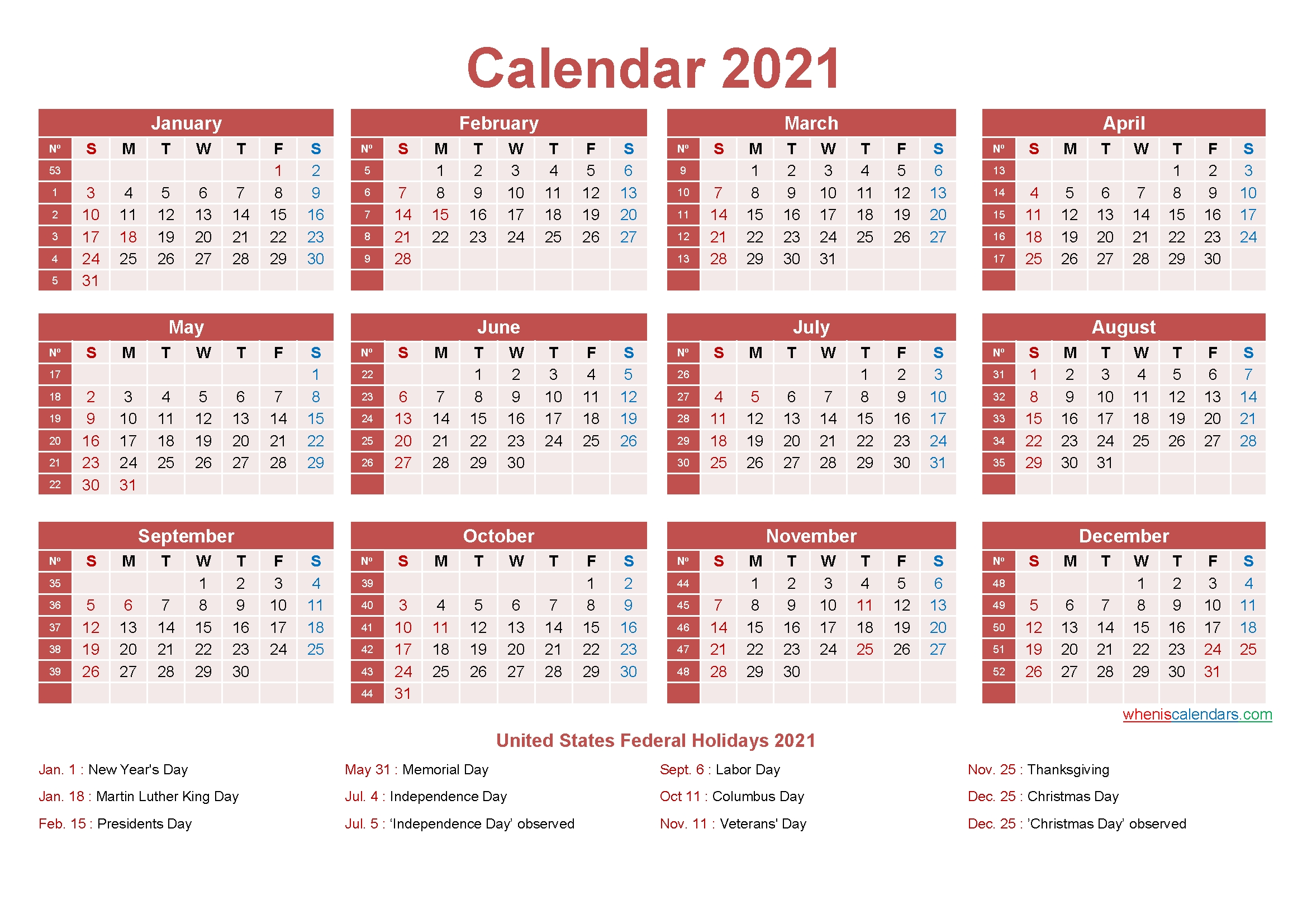 Free Yearly 2021 Calendar With Holidays Word, Pdf - Free