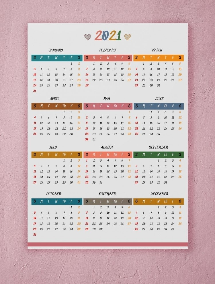 Free Yearly Wall Calendar 2021 Template In Google Docs