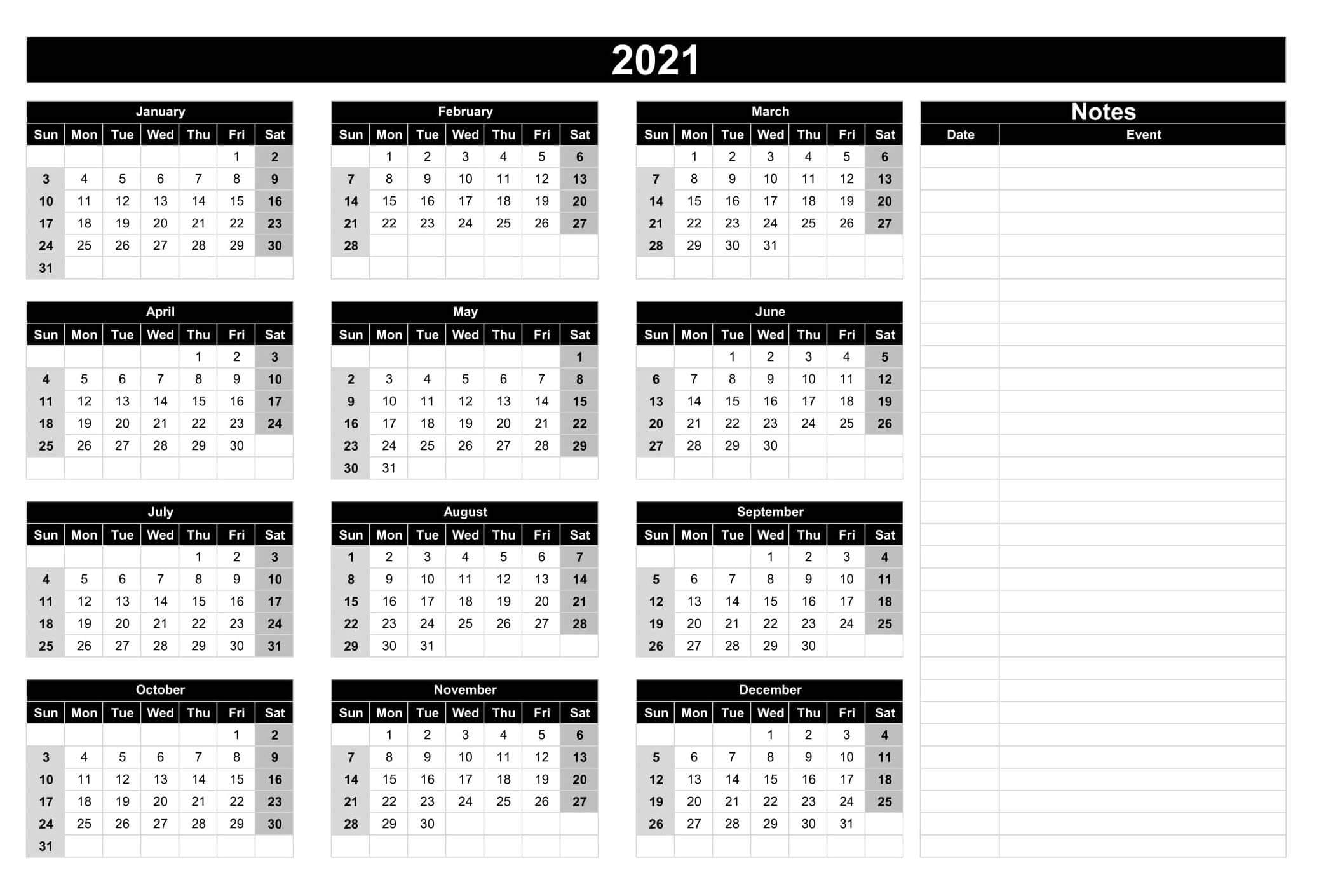 Full Year Printable Calendar 2021 With Notes   Free