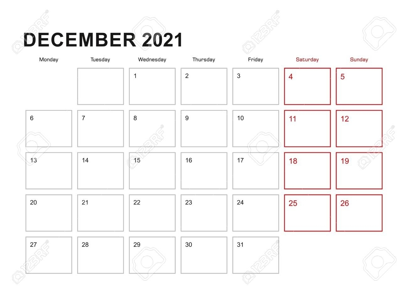 Get December 2021 Starts Monday   Best Calendar Example