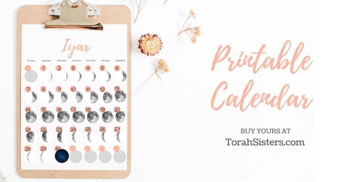 Hebrew Printable Interactive Moon Calendar - Torah Sisters