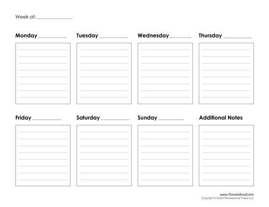 Image Result For Weekly Calendar   Weekly Planner Template