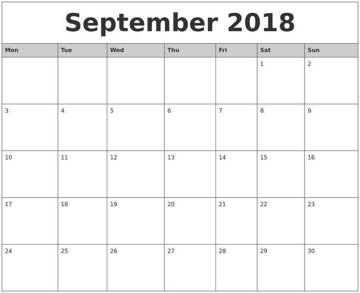 Impressive Blank Calendar Template Monday Start In 2020