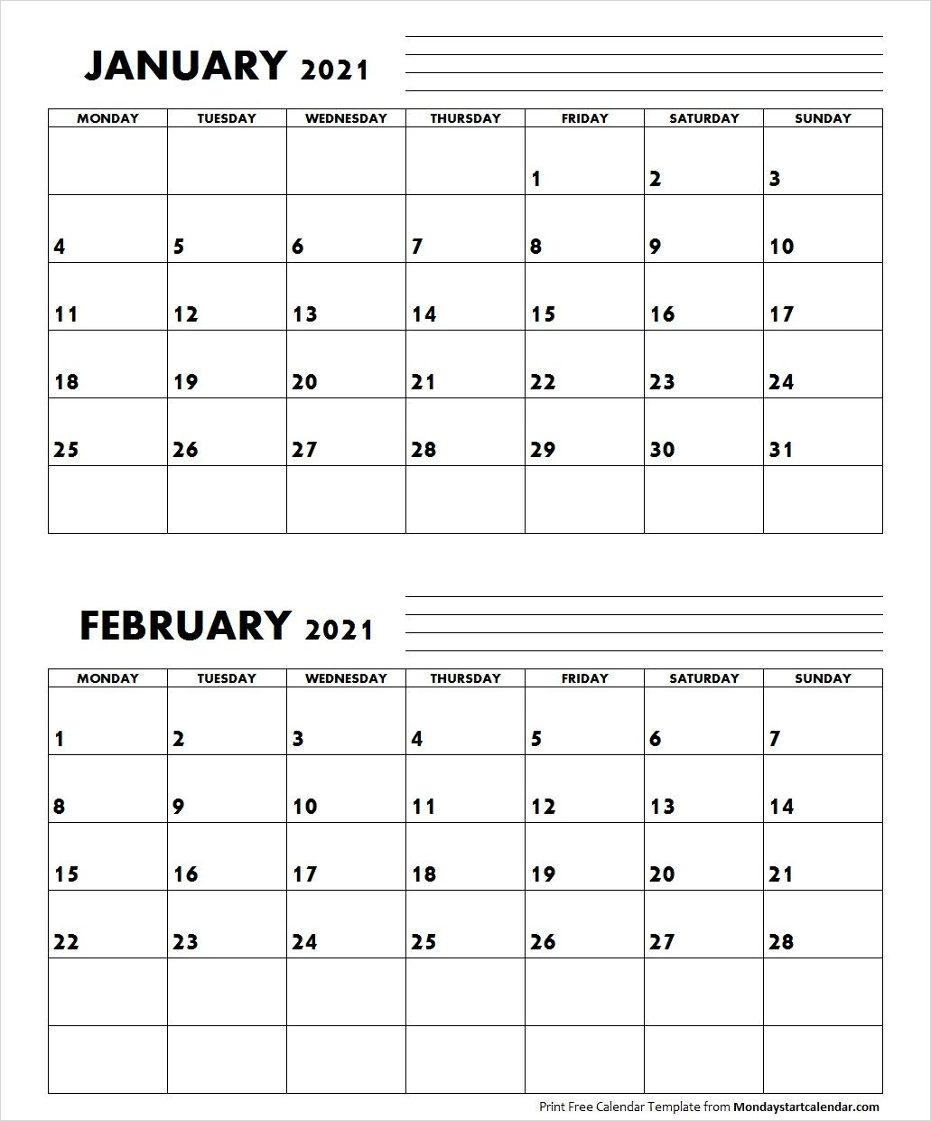 Jan Feb 2021 Calendar Monday Start | Editable Two Months