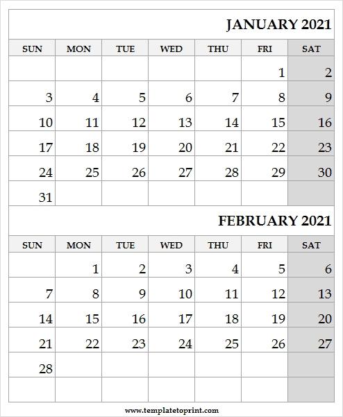 Jan Feb 2021 Calendar United Kingdom - Jan 2021 Calendar