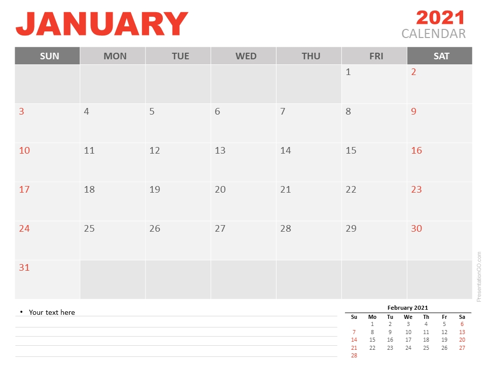 January 2021 Calendar For Powerpoint And Google Slides