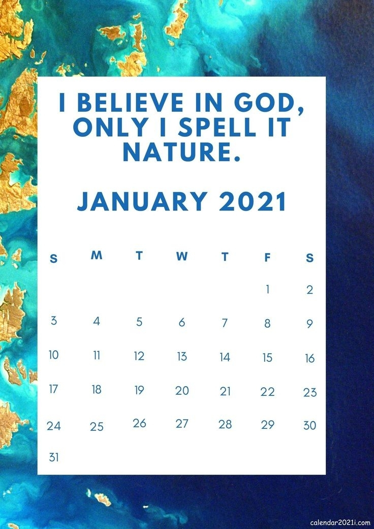 January 2021 Motivational Calendar With Quotations And