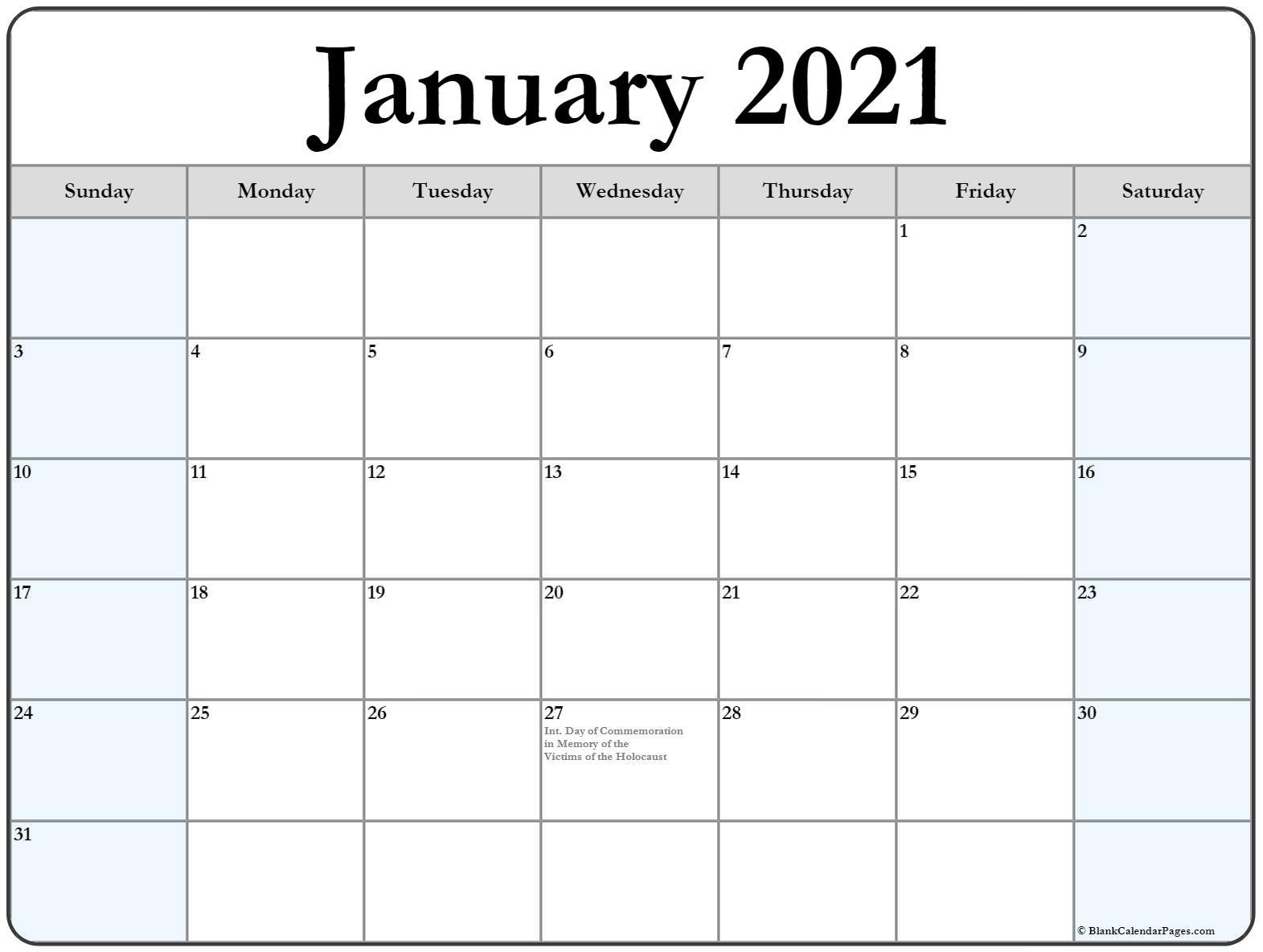 January 2021 With Holidays Calendar