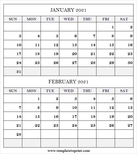 January February 2021 Calendar Template - Blank Calendar