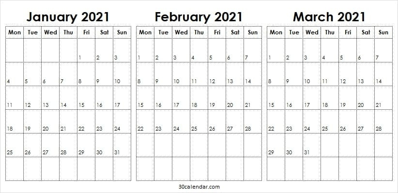 January February March 2021 Calendar - Free Calendar