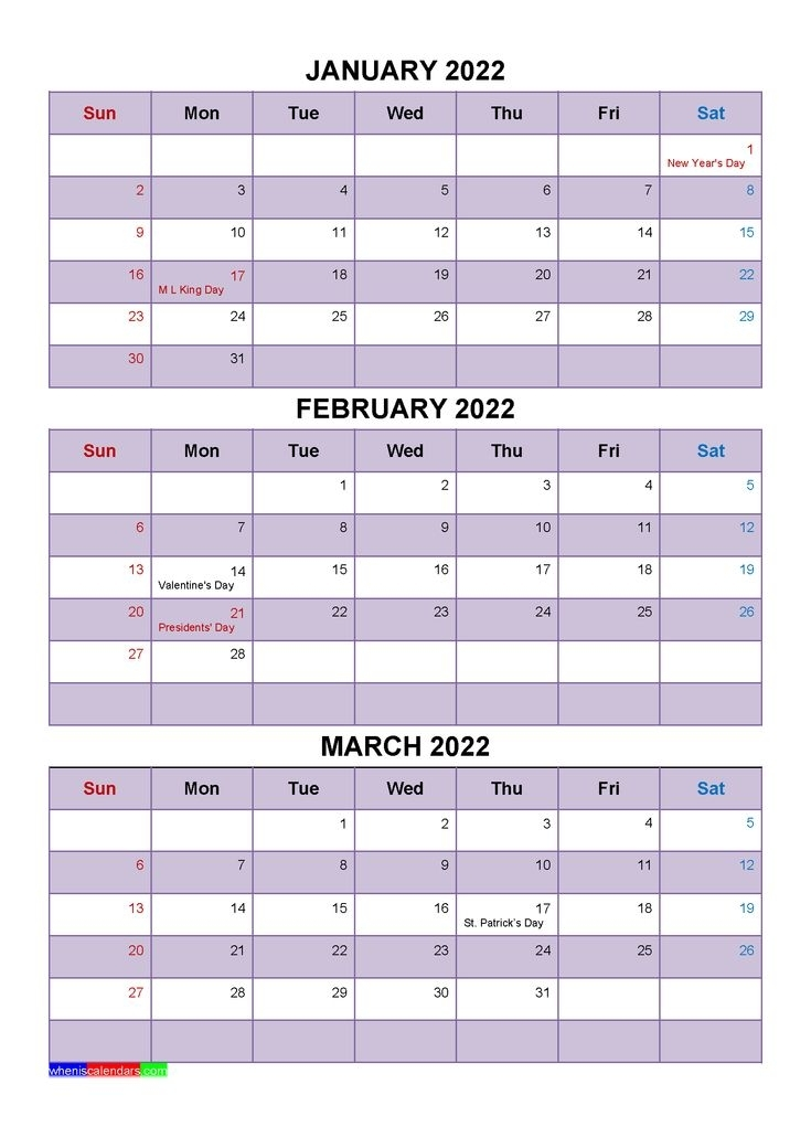 January February March 2022 Calendar With Holidays [Four