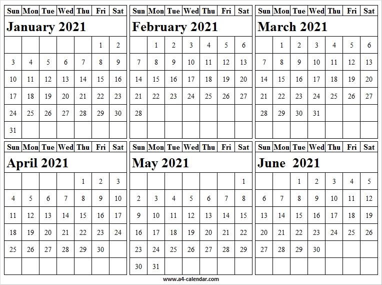 January To June 2021 Calendar Vertical - Blank Calendar