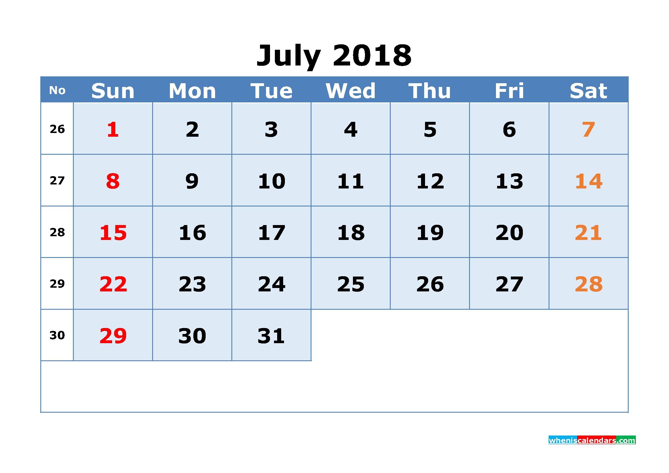 July 2018 Calendar With Week Numbers Printable 1 Month