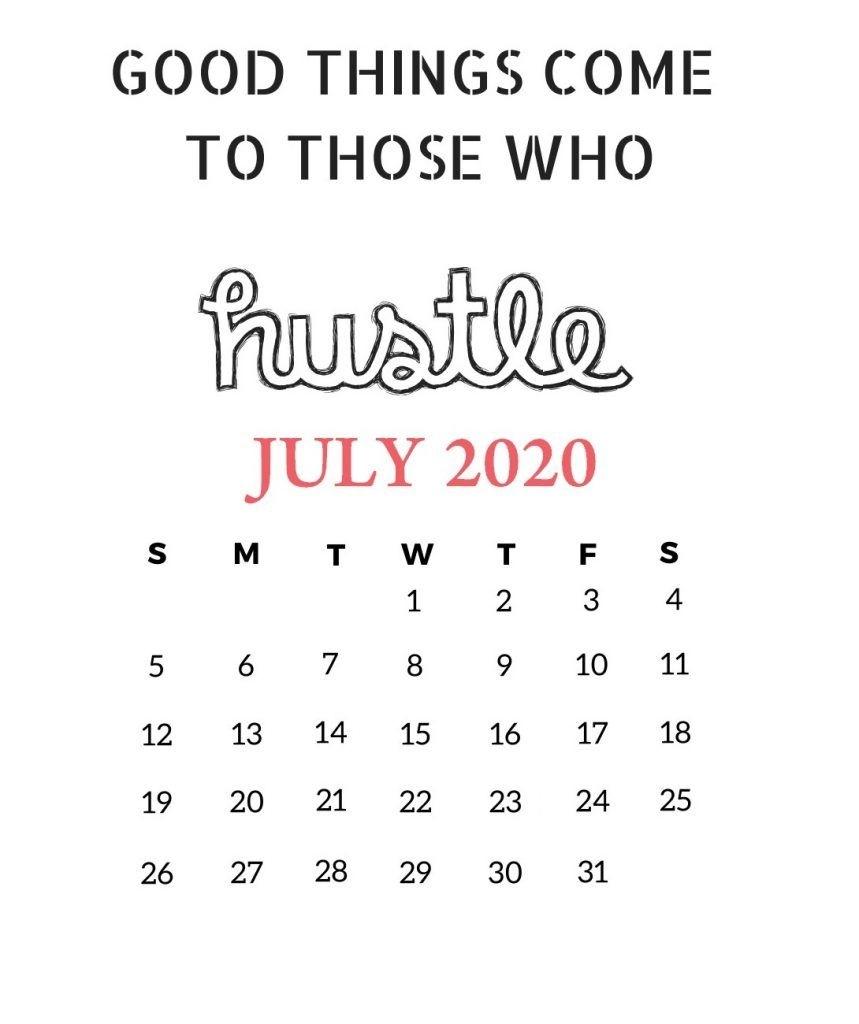 July 2020 Motivational Calendar | Monthly Calendar