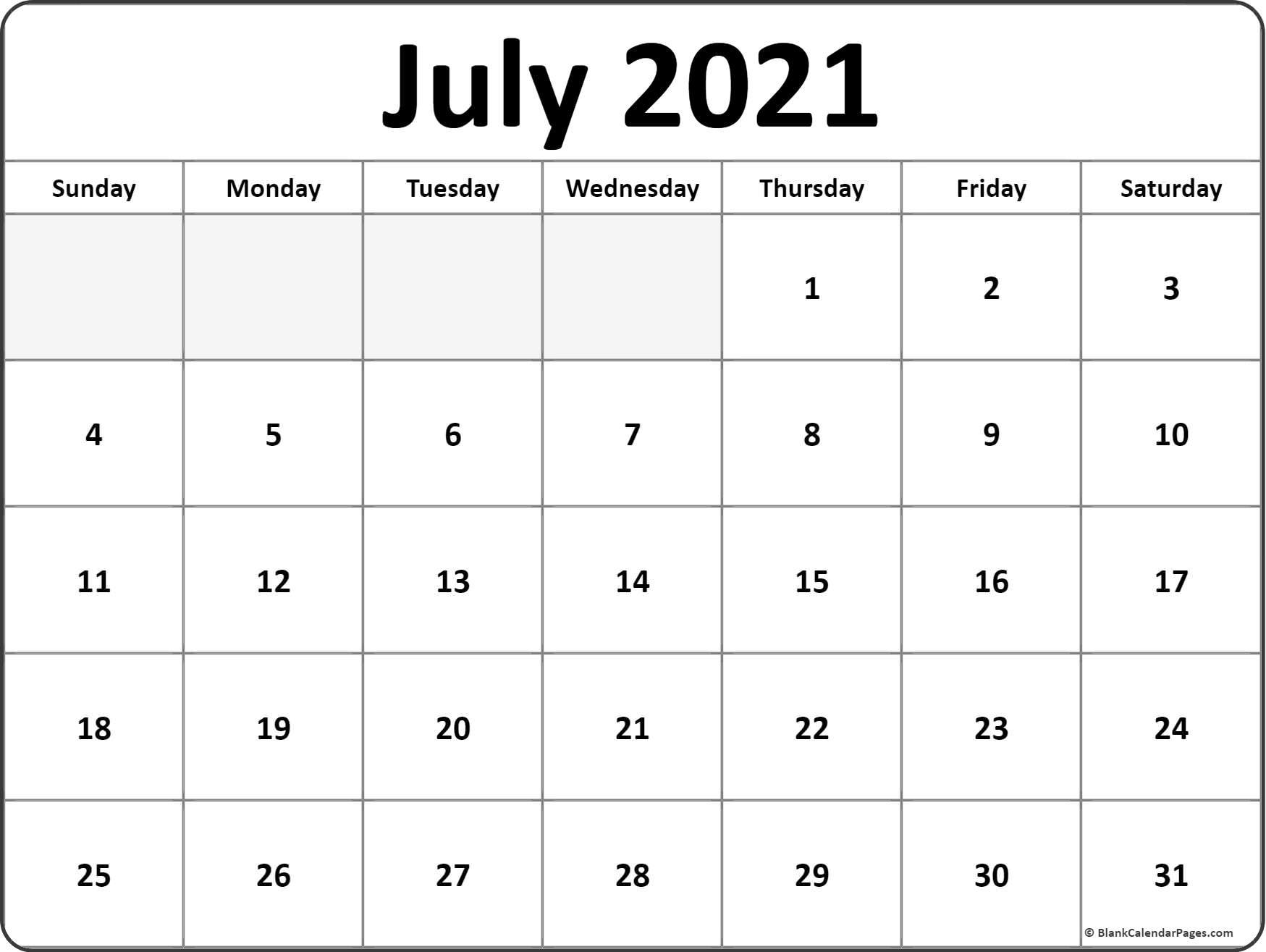 July 2021 Blank Calendar Templates.