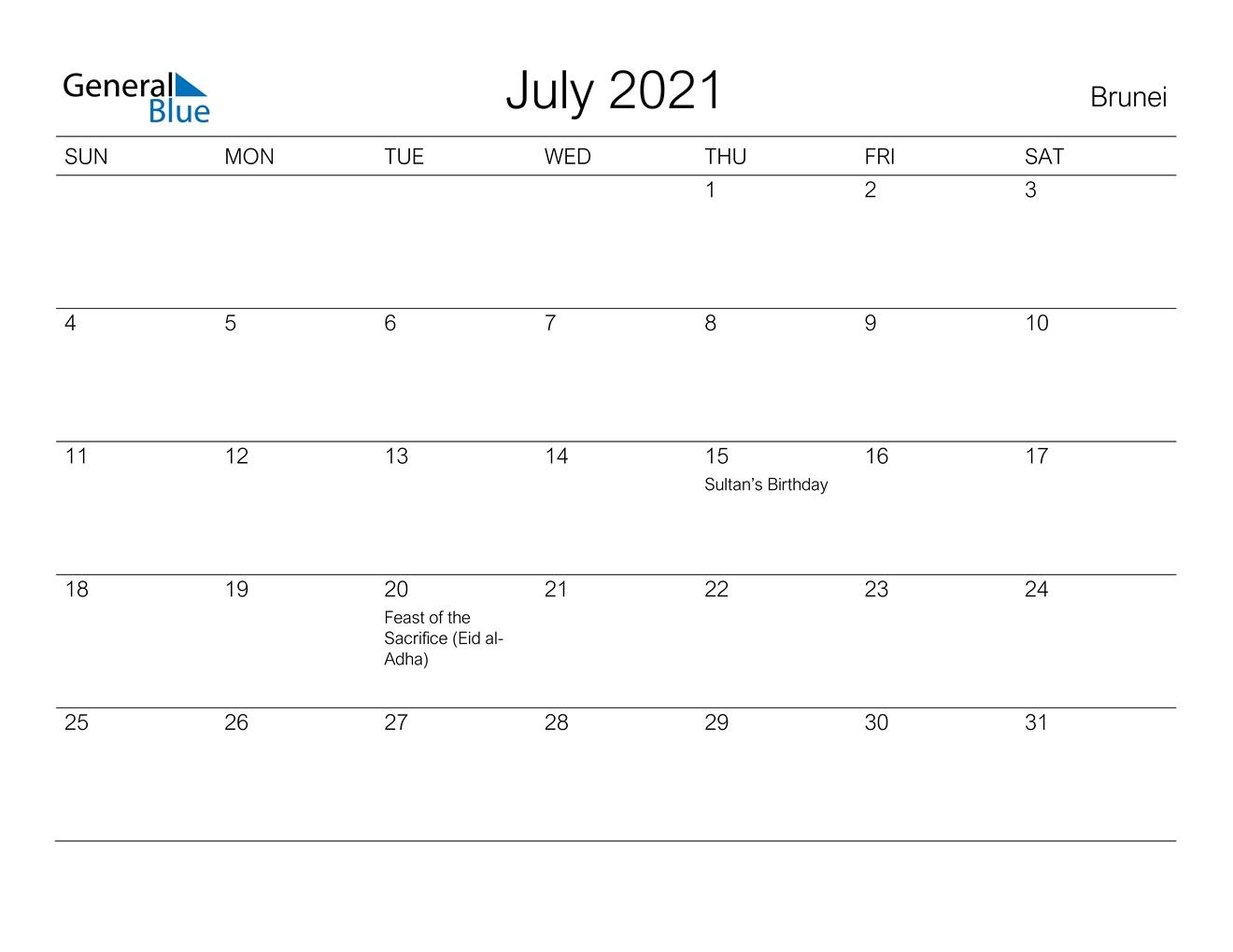 July 2021 Calendar - Brunei