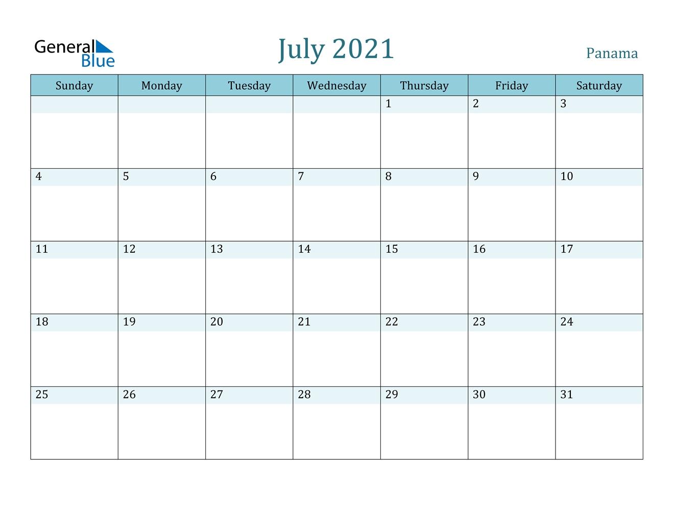 July 2021 Calendar - Panama